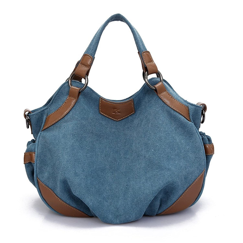 Generic European Style Canvas Large Women's Handbag (Blue)