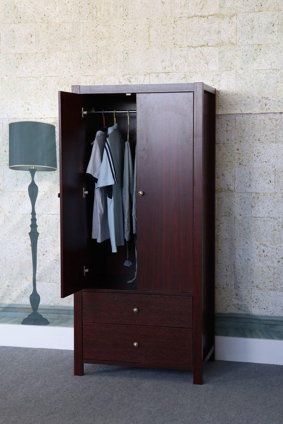 K16022 Smart Home Mahogany Clothing Storage with Drawers Wardrobe