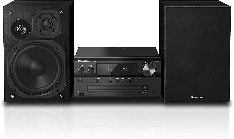 Panasonic SC-PMX90 -Microcadena Con Altavoces de Bambú- (120 W, Hi- Fi, Sonido Hogar, 14 cm Woofer, 1.9 cm Silk Dome Tweeter, 1.5 cm Piezo Twitter, Bluetooth, USB Dual, Radio FM, AUX 3.5 mm)- Negro