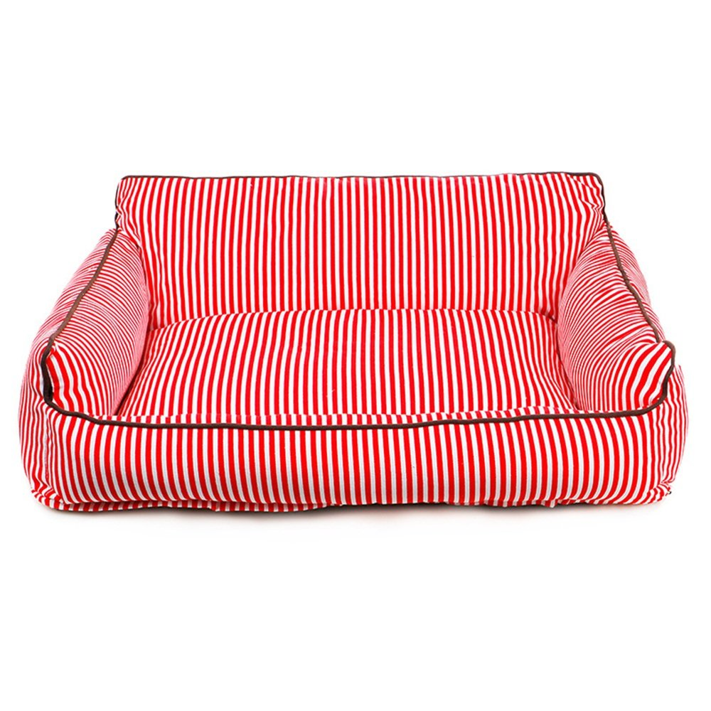 Red Small Red Small Pet Bolster Bed Washable Kennel Four Seasons General Teddy golden Retriever Large Dog Mat Comfort Warm Nest (color   Red, Size   S)
