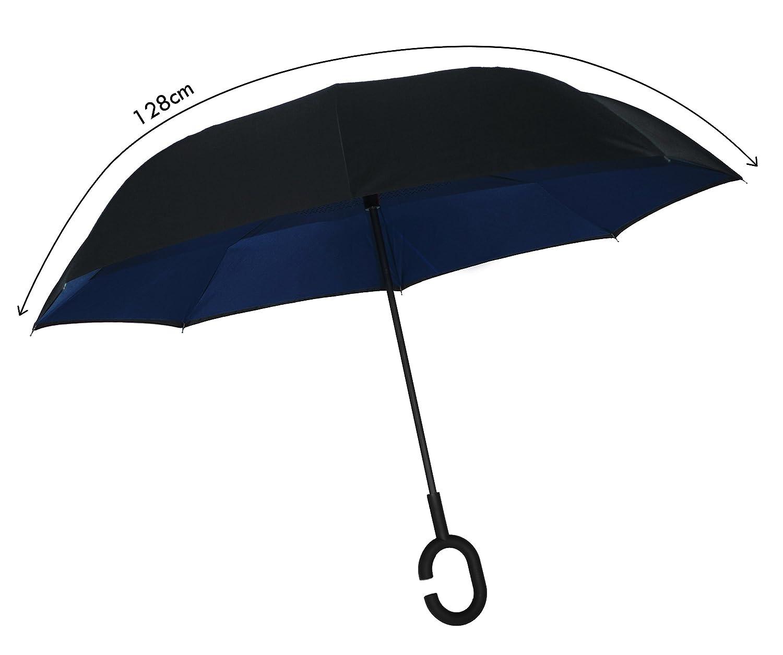 Parapluie Invers/é Pliable ADVERS Inverse Inverse Double Couche Innovante Poign/ée Compacte Forme C Bande Difficile Manche Vent Coupe-Vent Noir /Étanche Voiture Cadeau Femme Homme Grand Bleu Clair