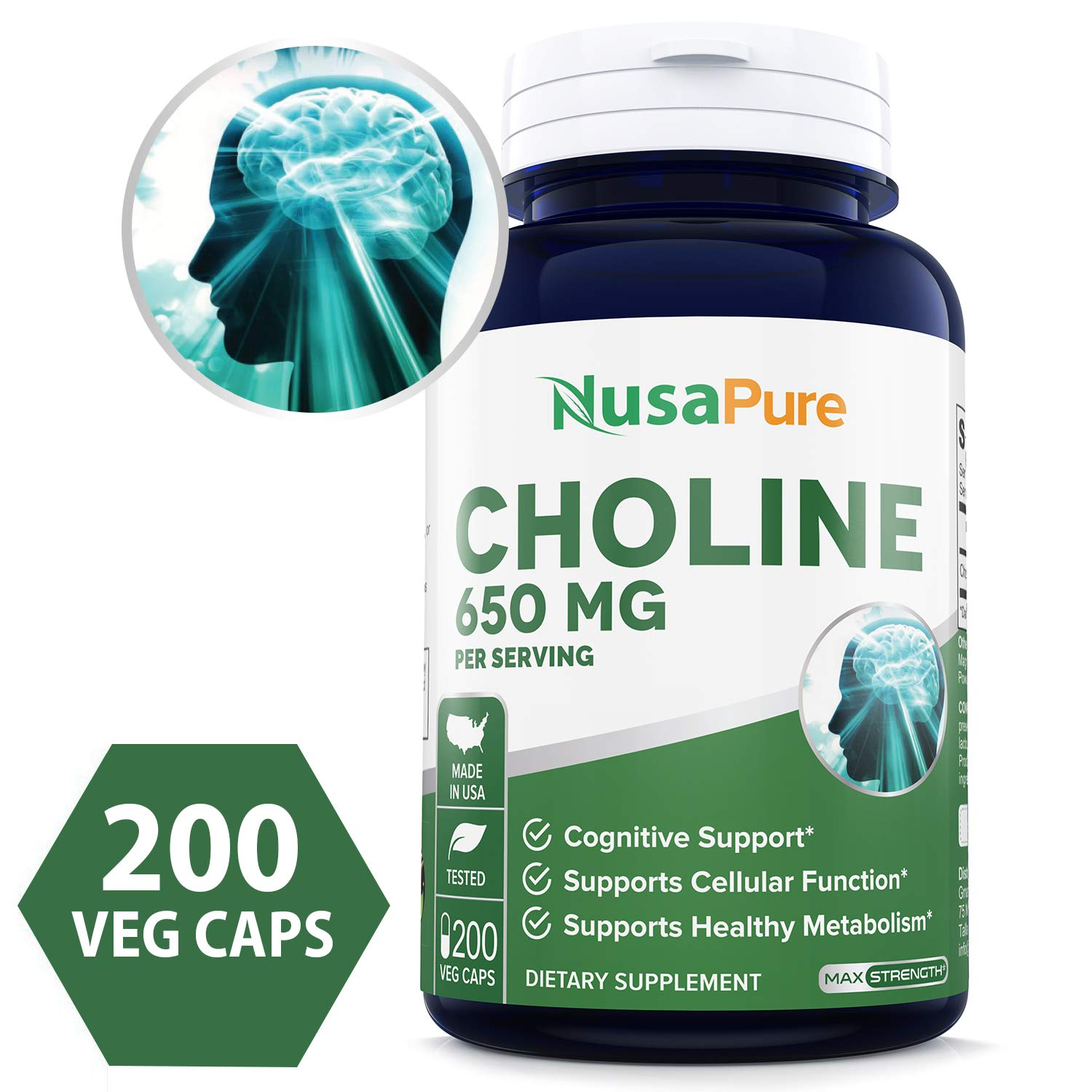 Choline Bitartrate 650 mg 200 Veggie Capsules (Non-GMO & Gluten Free) Enhance Cognitive Function & Mental Focus, Prenatal Infant Brain Development