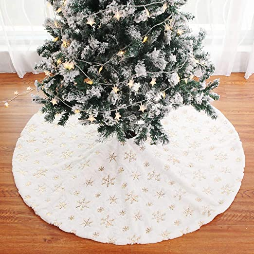 Sansee - Falda de árbol de Navidad con Cuentas de Felpa Bordadas ...