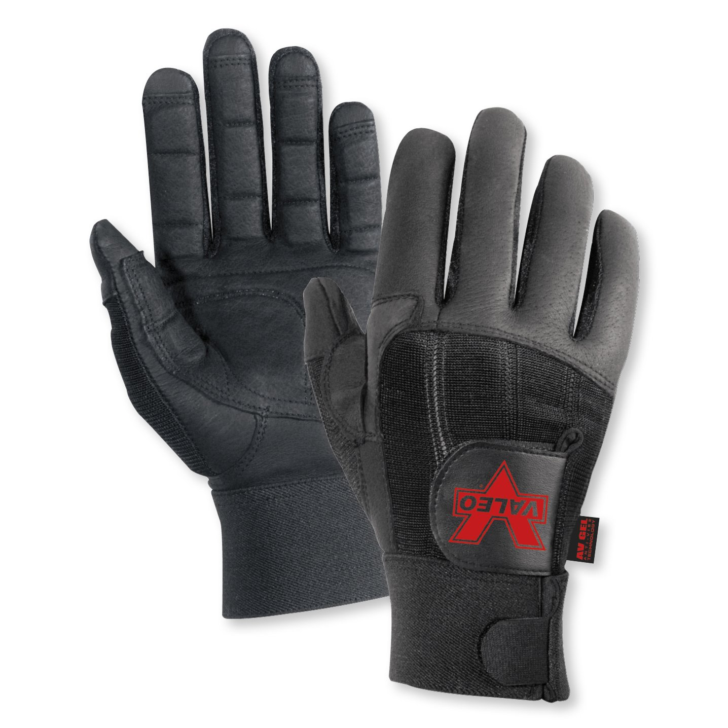 Valeo Pro Full-Finger Anti-Vibe Gloves (Black, Large)