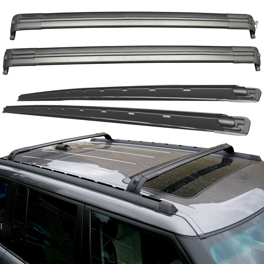 Roof Rack Cross Bars Fits 2002-2012 Land Rover Range Rover HSE | OEM Style Polish Aluminum Roof Top Bar Luggage Carrier by IKON MOTORSPORTS | 2003 2004 2005 2006 2007 2008 2009 2010 2011 Ref. OEM fitment