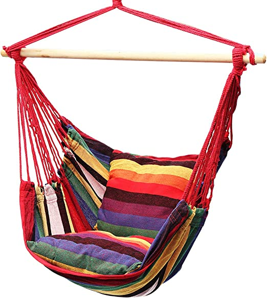 Amazon Com Lelly Q Hanging Rope Hammock Chair Swing Seat For Any Indoor Or Outdoor Spaces Max 265 Lbs 2 Seat Cushions Rainbow Stripes Garden Outdoor