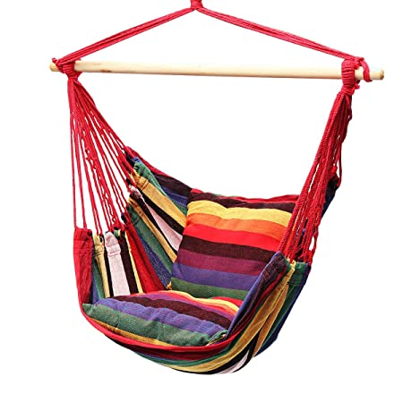 Lelly Q Hanging Rope Hammock Chair Swing Seat for Any Indoor or Outdoor Spaces- Max. 265 Lbs -2 Seat Cushions Rainbow Stripes