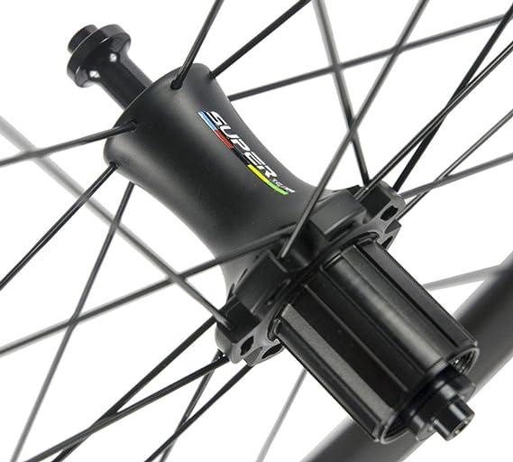 FidgetGear Ruedas de Carbono sin cámara de 23 mm para Bicicleta de ...