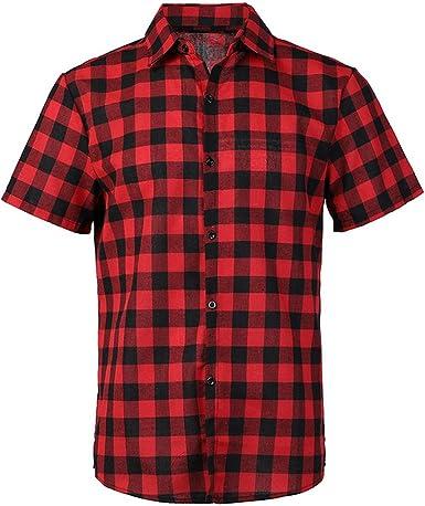 zencardery Camisa A Cuadros Roja Y Negra Camisas para Hombres 2019 Verano Chemise Homme Camisas A Cuadros para Hombre Camisa De Manga Corta: Amazon.es: Ropa y accesorios