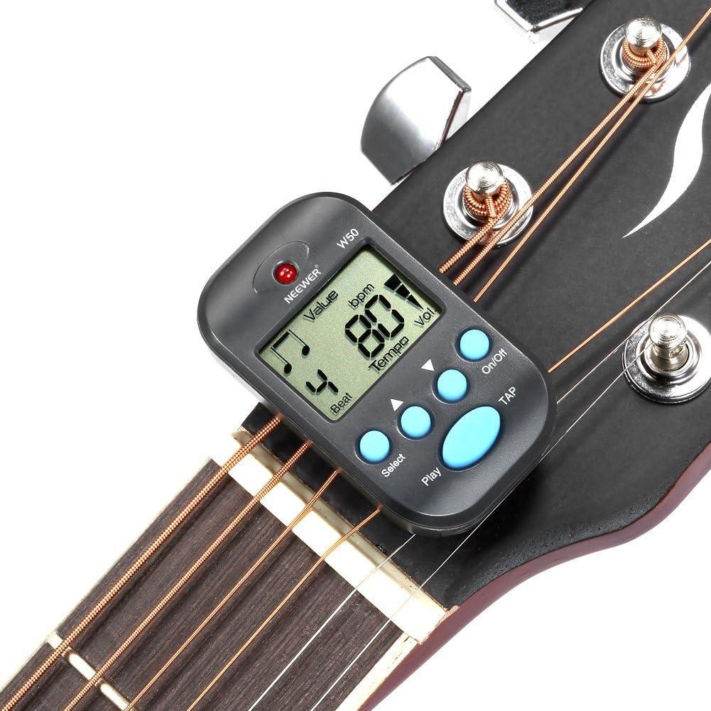 Metr/ónomo port/átil del sintonizador digital del LCD para la guitarra bajo viol/ín Ukelele