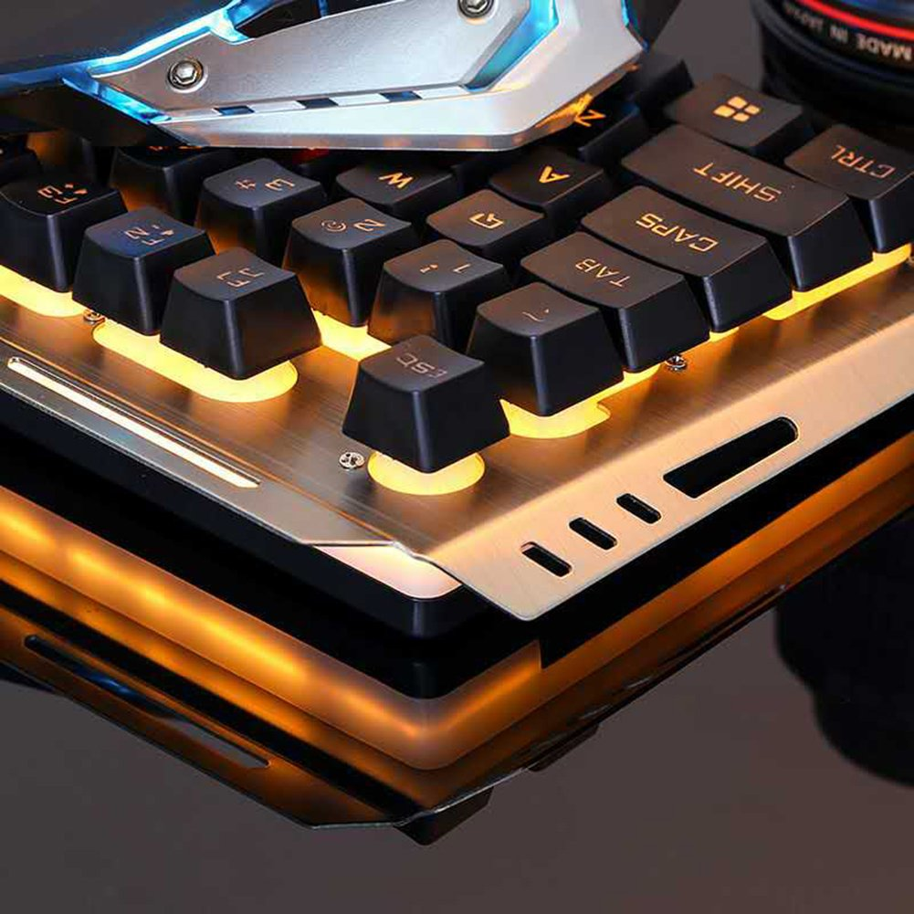 Black with Yellow Light LAFEINA Wired Backlit Gaming Keyboard and Mouse Set for PC Laptop Computer