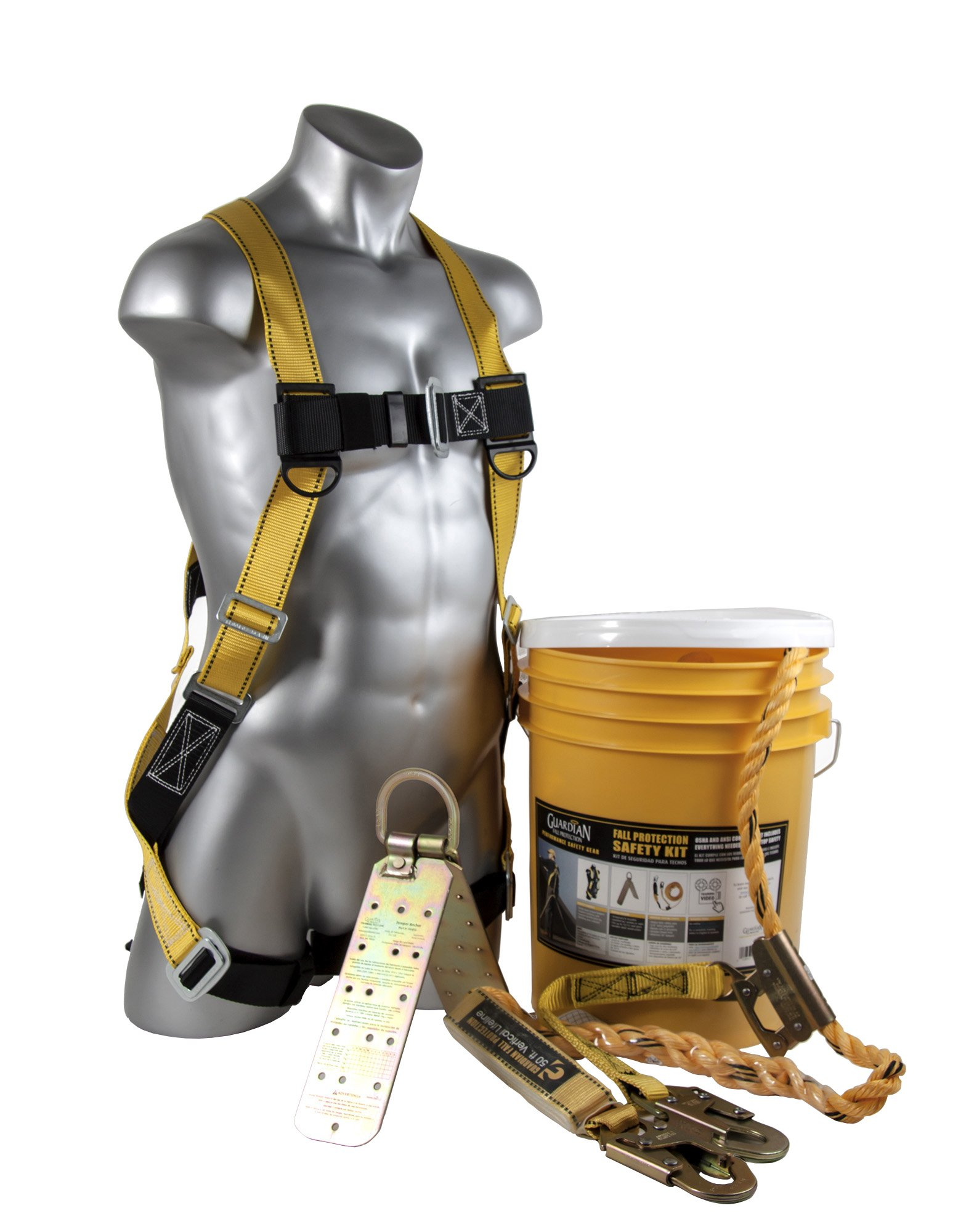 Guardian Fall Protection (Qualcraft) 00815 BOS-T50 Bucket of Safe-Tie with Temper Anchor, 50-Foot Vertical Lifeline Assembly and HUV by Guardian Fall Protection