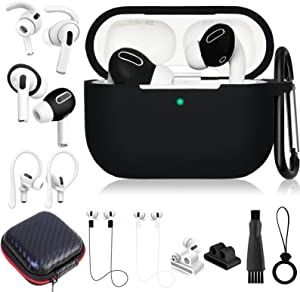 Airpods Pro Case Accessories Set,12 in 1 Silicone Airpod Pro Accessory Kit,Protective Cover for Apple Airpods 3 Charging Case with Keychain/Ear Cover/Ear Hook/Watch Band Holder/Strap/Ring/Carrying Box