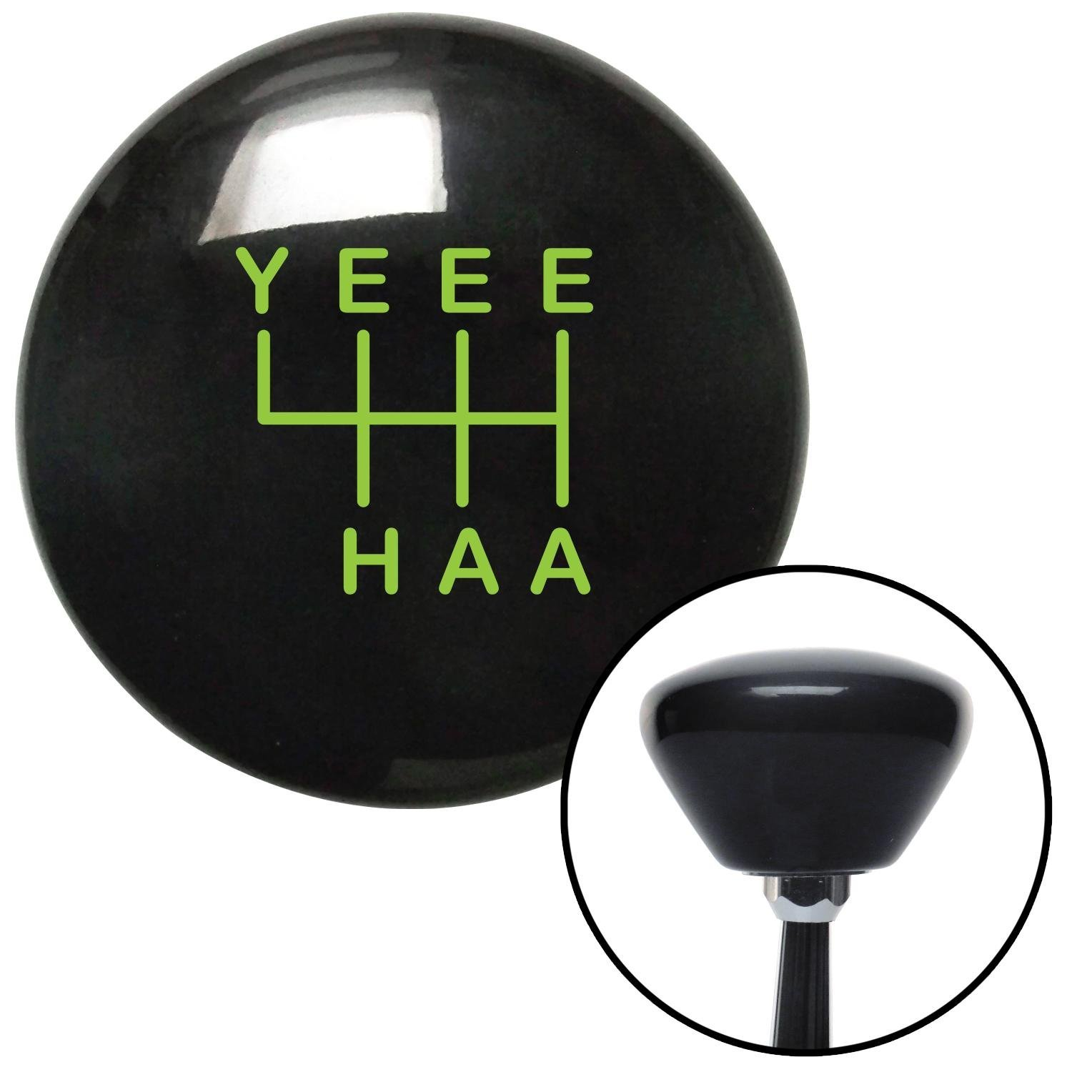 Green YeeeHaa 6 Speed Black Retro with M16 x 1.5 Insert American Shifter 301979 Shift Knob