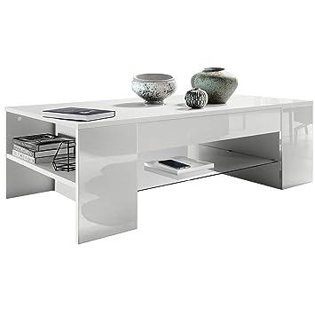 Brillance Clip Avec Table Salon Vladon Bordures Haute En De Des Blanc Basse hQCtsrodBx