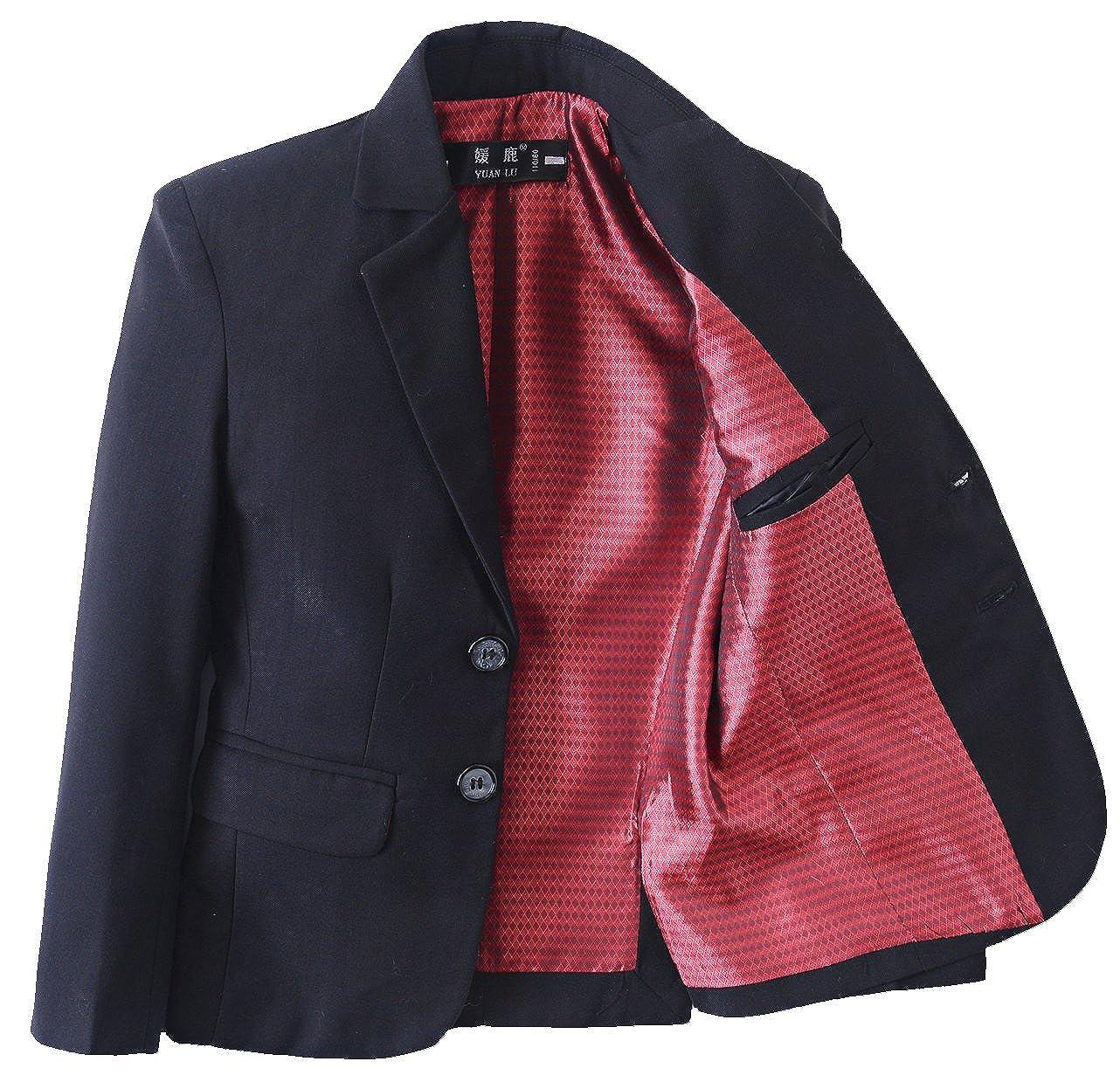 2a75e3438 Amazon.com  Yanlu Boys Suits Blazer Black Slim Fit Boy Suit Coat ...