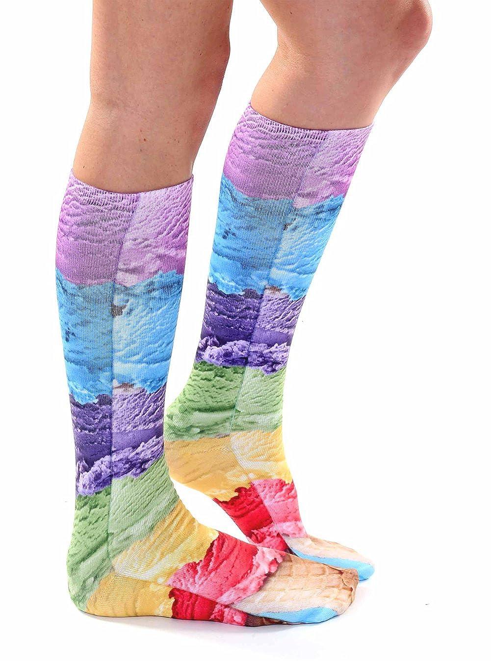 Ice Cream Photo Print Knee High Socks Living Royal