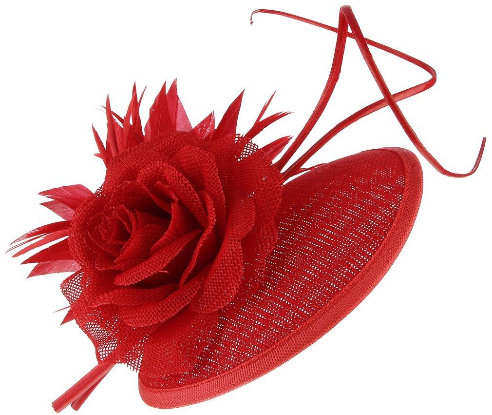 Gemvie Vintage Fascinator Floral Feather Hat Formal Sinamay Headband Hair Clip Red
