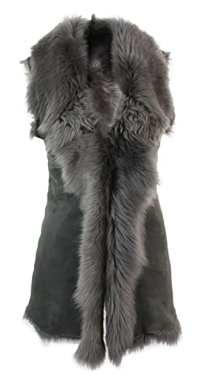 b6347a2d69 Ladies Women Real Spanish Toscana Shearling Sheepskin Grey Leather  Waistcoat Gillet  Amazon.co.uk  Clothing
