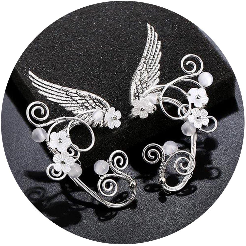 Elf Ear Cuffs, Aifeer 1 Pair Pearl Beads Filigree Fairy Elven Cosplay Fantasy Handcraft Earring (Wings Design)