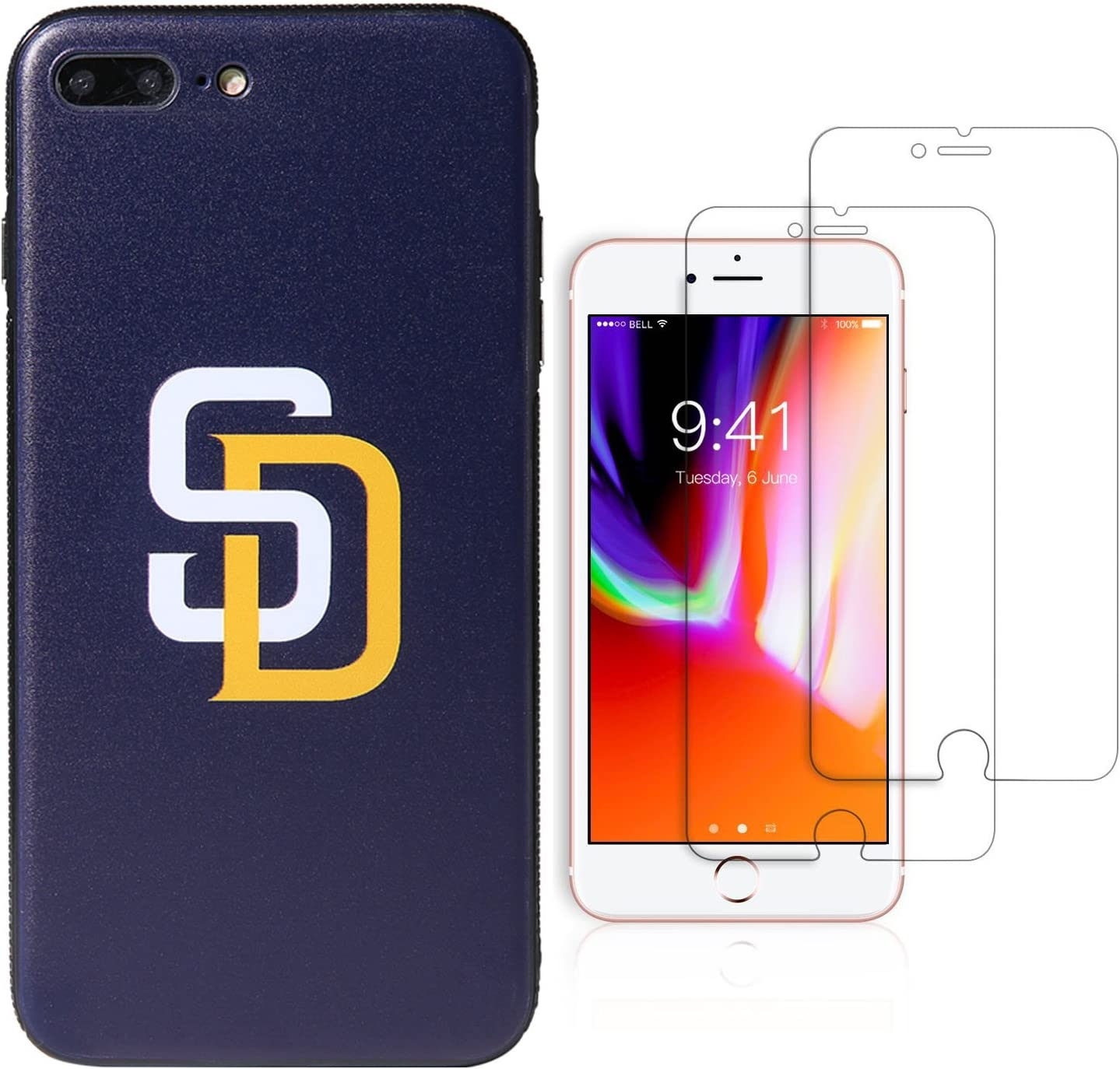 "San Diego Padres for iPhone 7 Plus//iPhone 8 Plus 5.5/"" Sportula MLB Phone Case Matching 2 Premium Screen Protectors Extra Value Set"