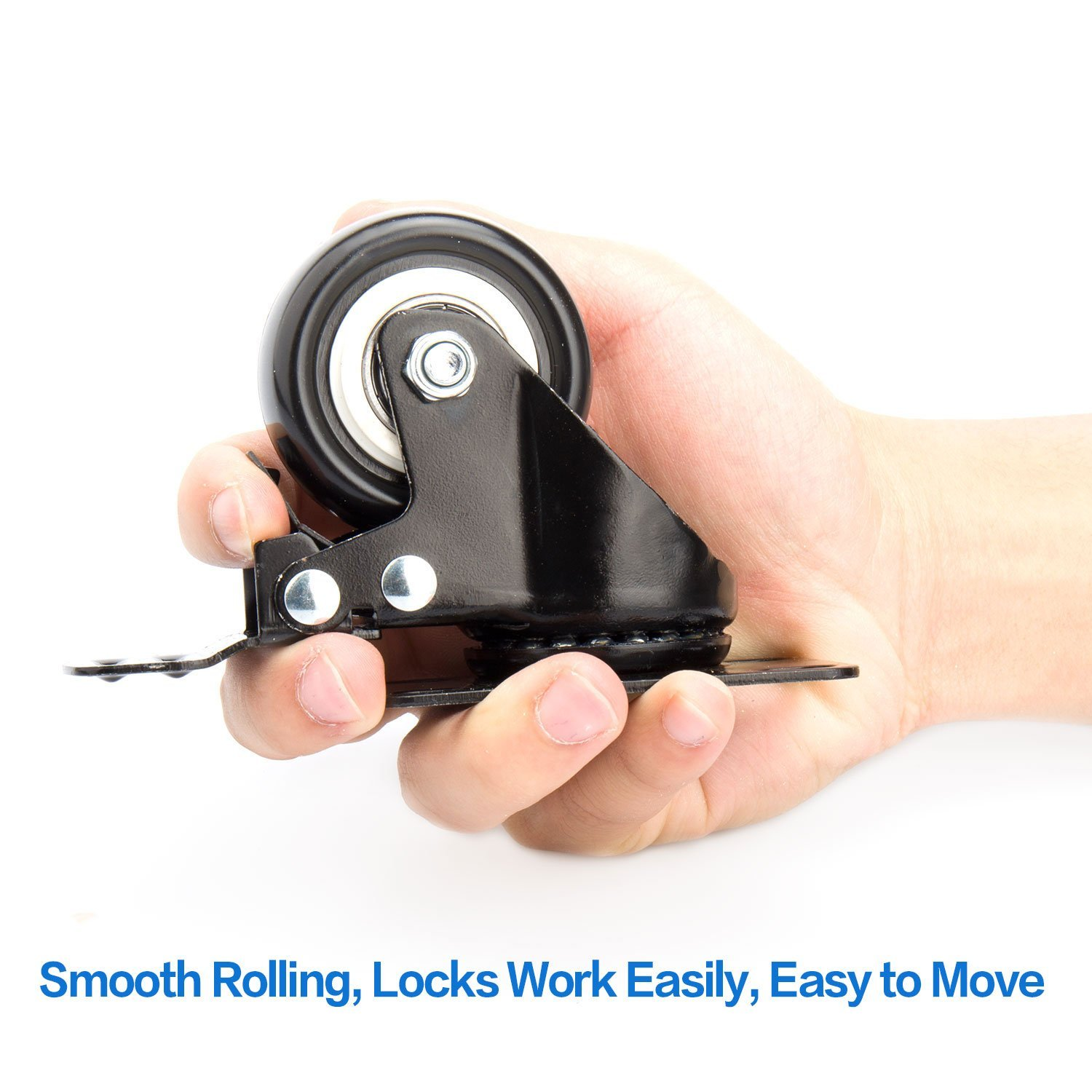 Heavy Duty Pack of 4 3 Swivel Caster Wheels with Safety Dual Locking and Polyurethane Foam No Noise Wheels 250 Lbs Per Caster
