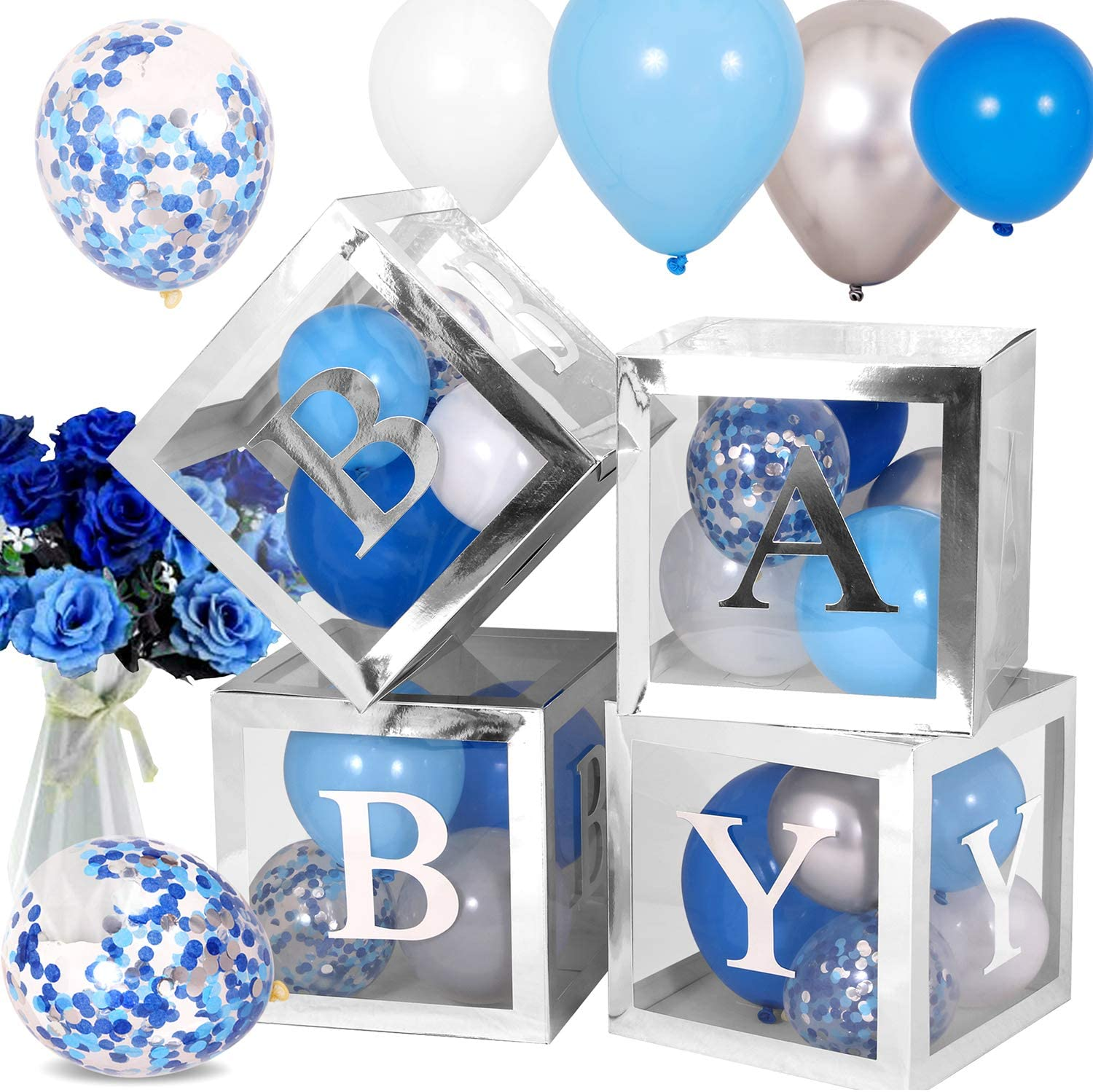 Baby Shower Decorations for Boy, Silver Transparent Boxes Includes 45Pcs Baby Blue Silver Grey Balloons for 1st Birthday Party, Elephant Baby Shower Boy, Pregnancy Announcements Party Decorations