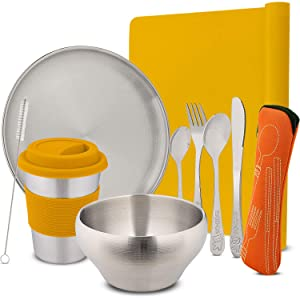 """Stainless Steel Children Tableware & Kids Flatware Set Eco Friendly Reusable Dishes for Your Toddler, Includes A 10oz Cup & Straw, 8"""" Plate, 19oz Bowl Orange"""