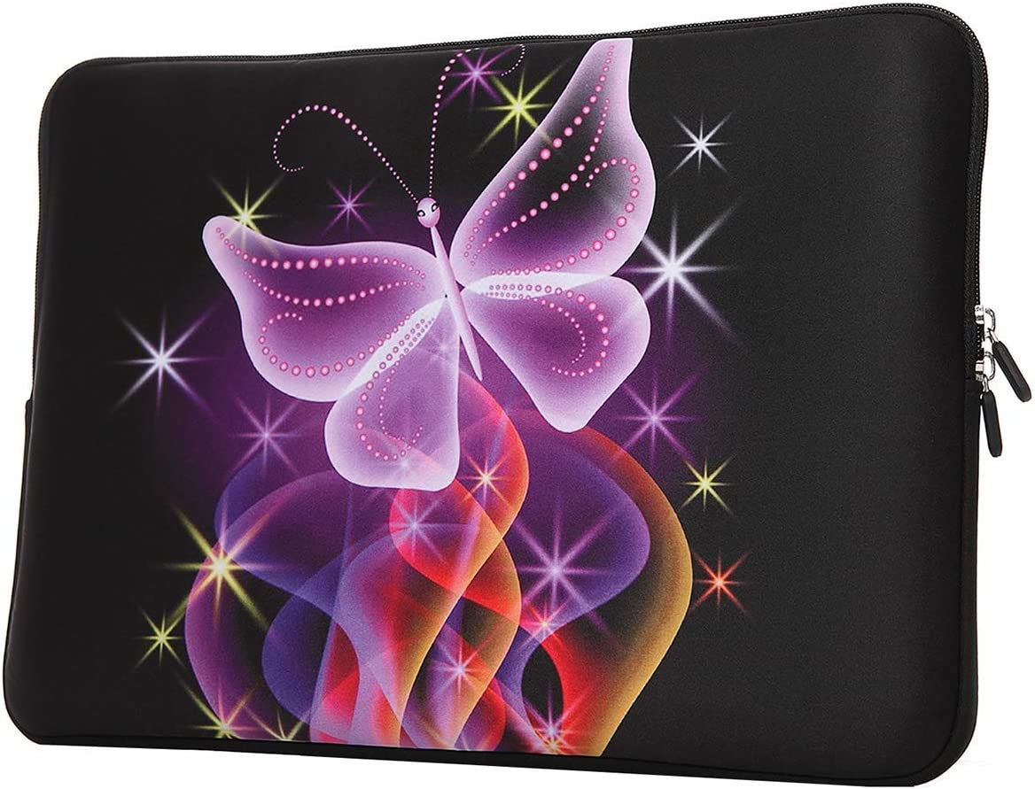 YIDA 15-15.6 Inch Laptop Sleeve Case Handle Bag Neoprene Cover, Dancing Butterfly