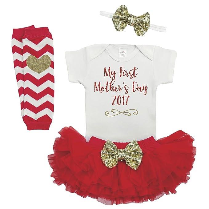 Amazon.com: Baby Girl Día de la Madre Outfit, la primera Día ...