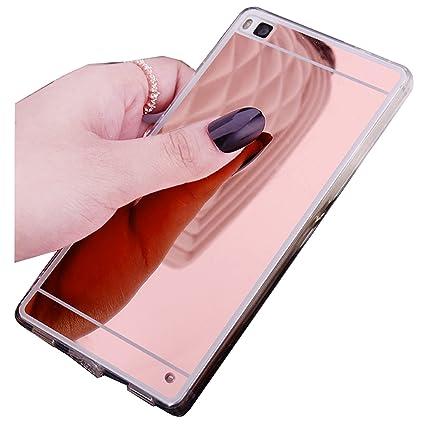 LXHGrowH Fundas Huawei P8 Lite, [Ultra Delgada] Carcasa con Espejo para Huawei P8 Lite (2016) Cover Silicona TPU Protectora Color Rosado Cubierta