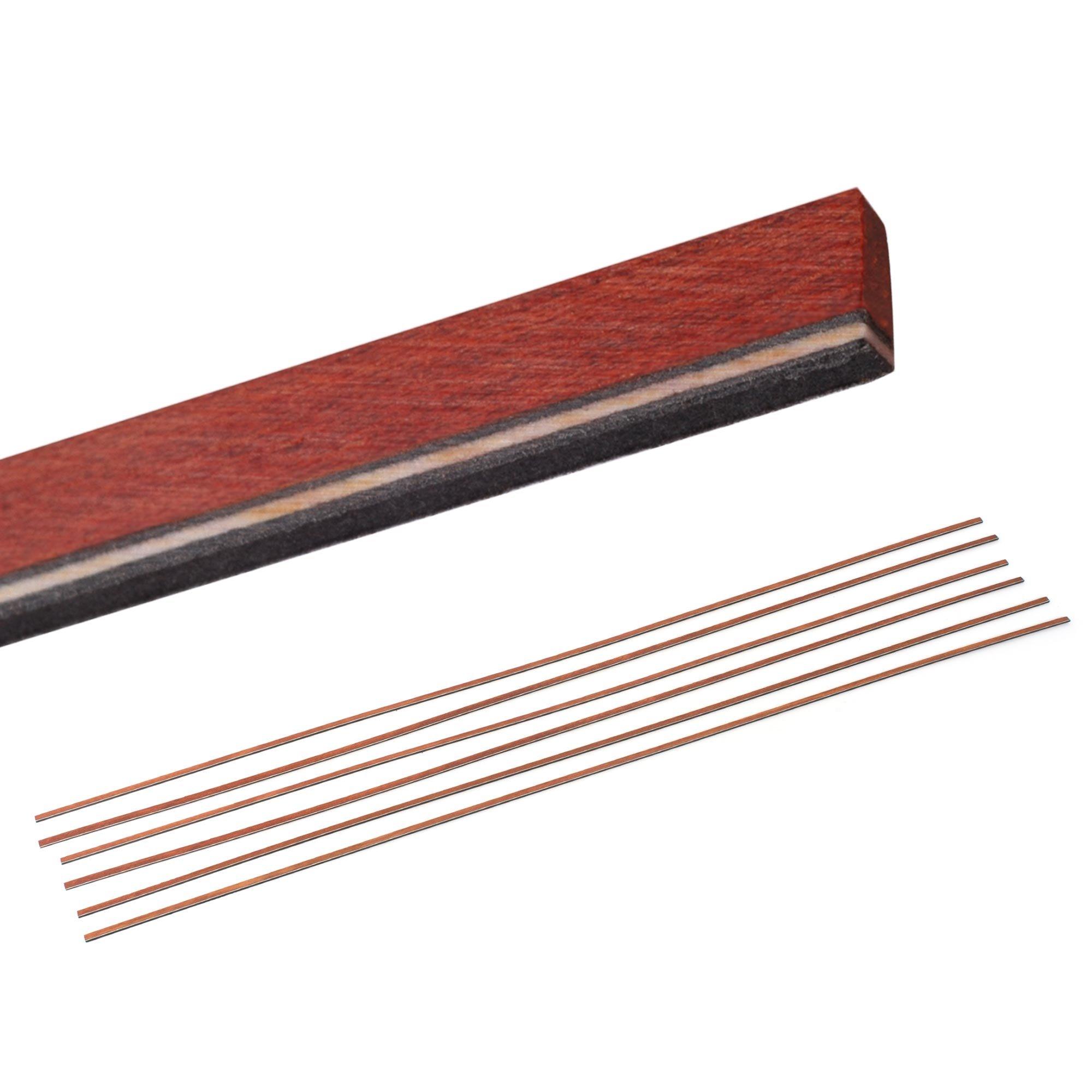 StewMac Natural Wood Guitar Bindings, Bloodwood with b/w/b Trim - 6 Pack