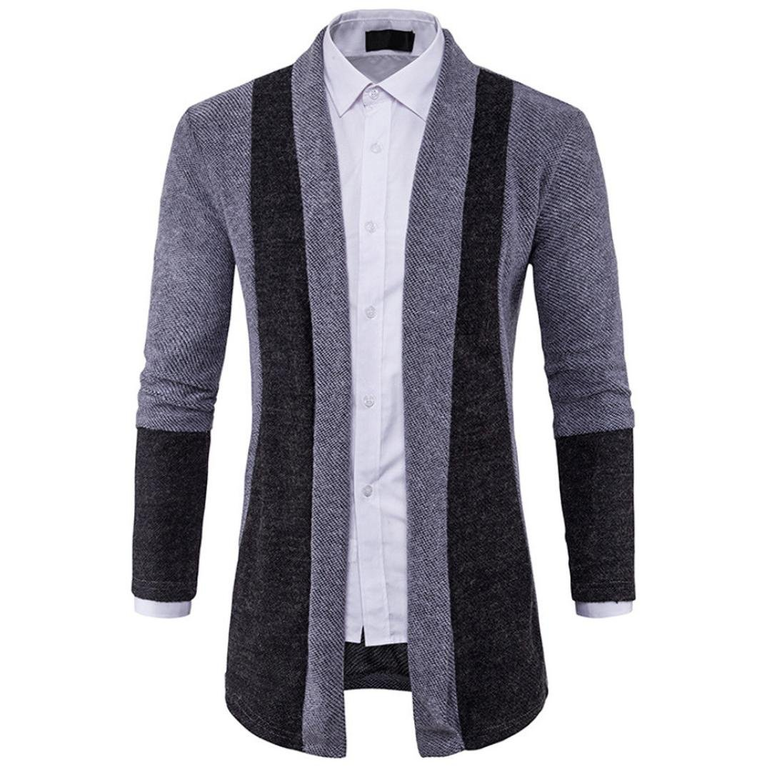 YANG-YI 2017 Mens Slim Fit Hooded Knit Sweater Fashion Cardigan Long Trench Knitted Coat Jacket Gray)