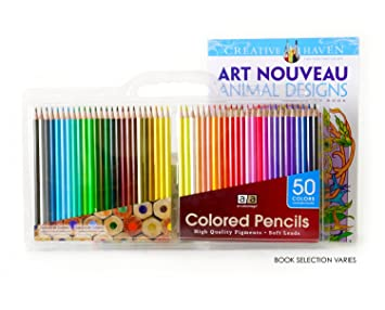 Art Advantage Soft Leads Colored Pencils With Coloring Book And Carrying Case 50 Colors