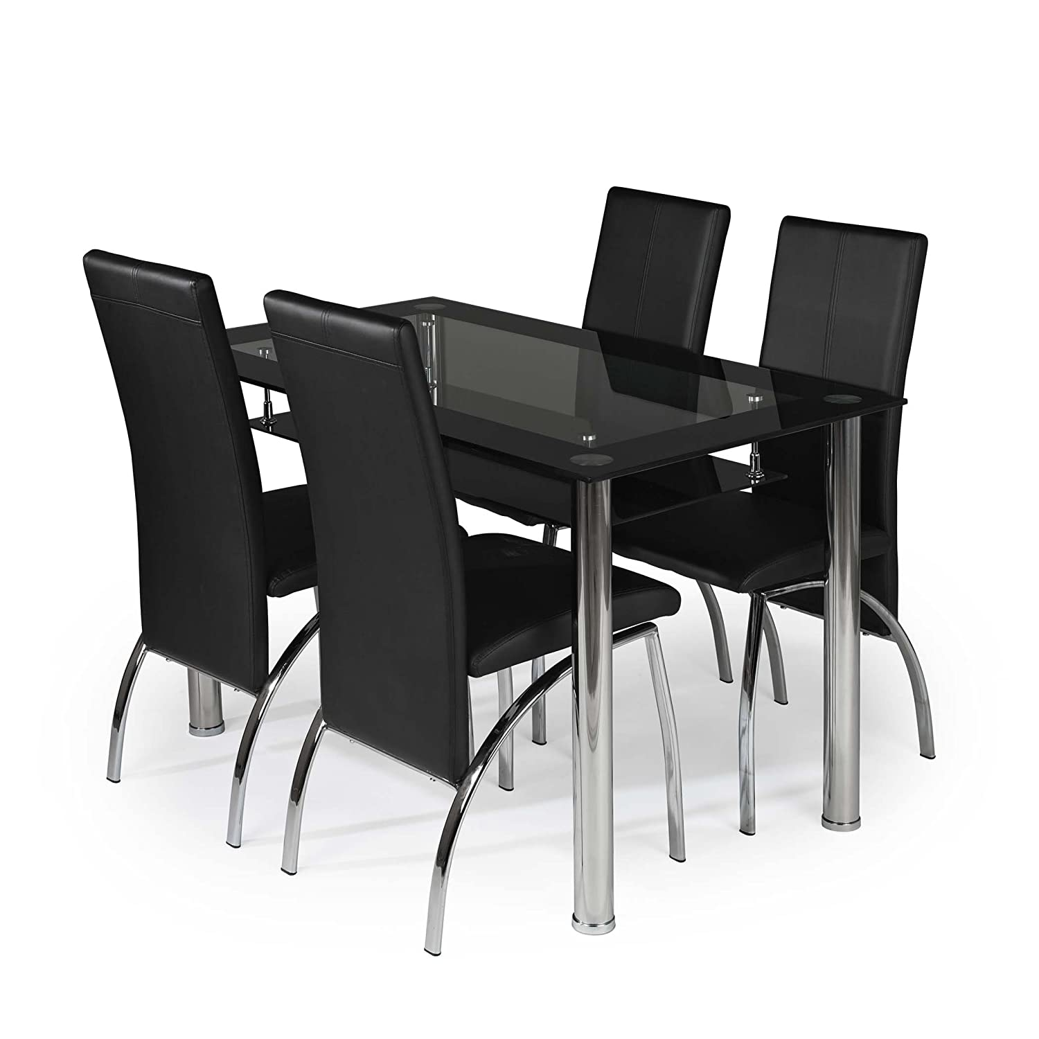 Modernique Black Border Glass Dining Table With Shelf And 4  # Meuble Tv Centrakor