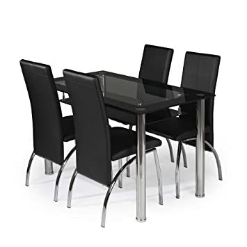 MODERNIQUE® Glass Dining Table And 4 Chairs Set, Table Size 120 Cm With Faux