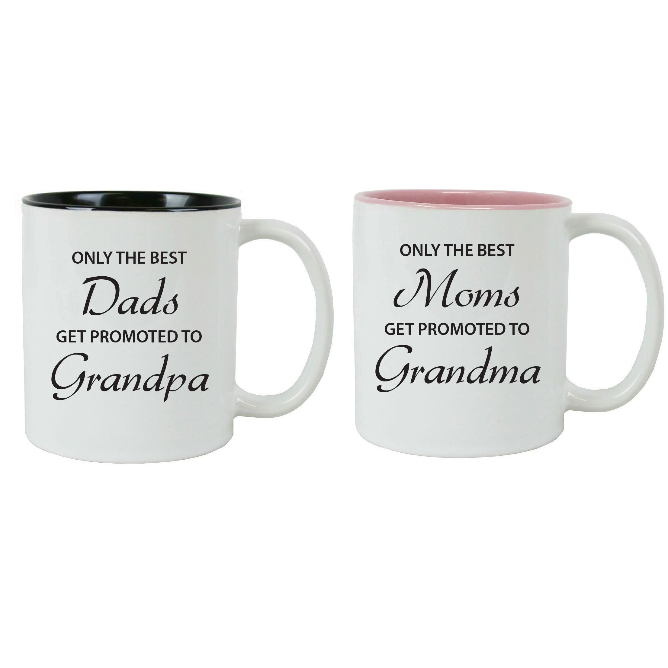 CustomGiftsNow Only The Best Dads/Moms Get Promoted to Grandpa/Grandma White 11 Ounce Ceramic Coffee Mugs Bundle, (Black,Pink)
