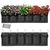 HugeHard Hanging Garden Planter with 6 Pockets, Waterproof Wall Planter Pouch Basket Bag with 7 Hooks, Balcony Planters…