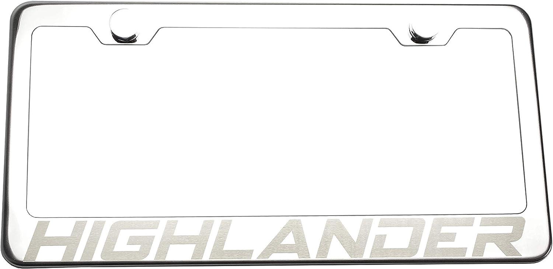 KA Depot Fit Toyota Highlander Laser Engraved Stainless Steel Chrome Polish License Plate Frame