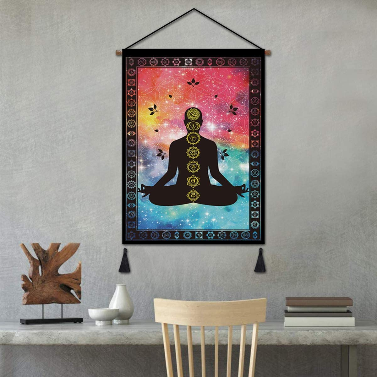 Seven Chakra Wall Hanging Poster Tie Dye Tapestry Yoga Meditation Studio Indian Decorations, Psychedelic Hippie Artwork for Living Room Bedroom Office Ready to Hang - 18x26in