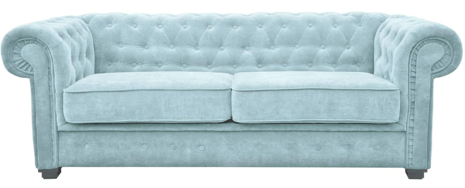 Groovy Chesterfield Style Sofa Bed Venus 3 Seater 2 Seater Fabric Light Blue Settee 3Seater Light Blue Ocoug Best Dining Table And Chair Ideas Images Ocougorg