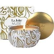 La Jolíe Muse Bougie Parfumées Vanille Coco Bougie Cadeau en Cire Bio Naturelle pour Noël Fête Anti Stress Aromathérapie Yoga 45-50 Heures
