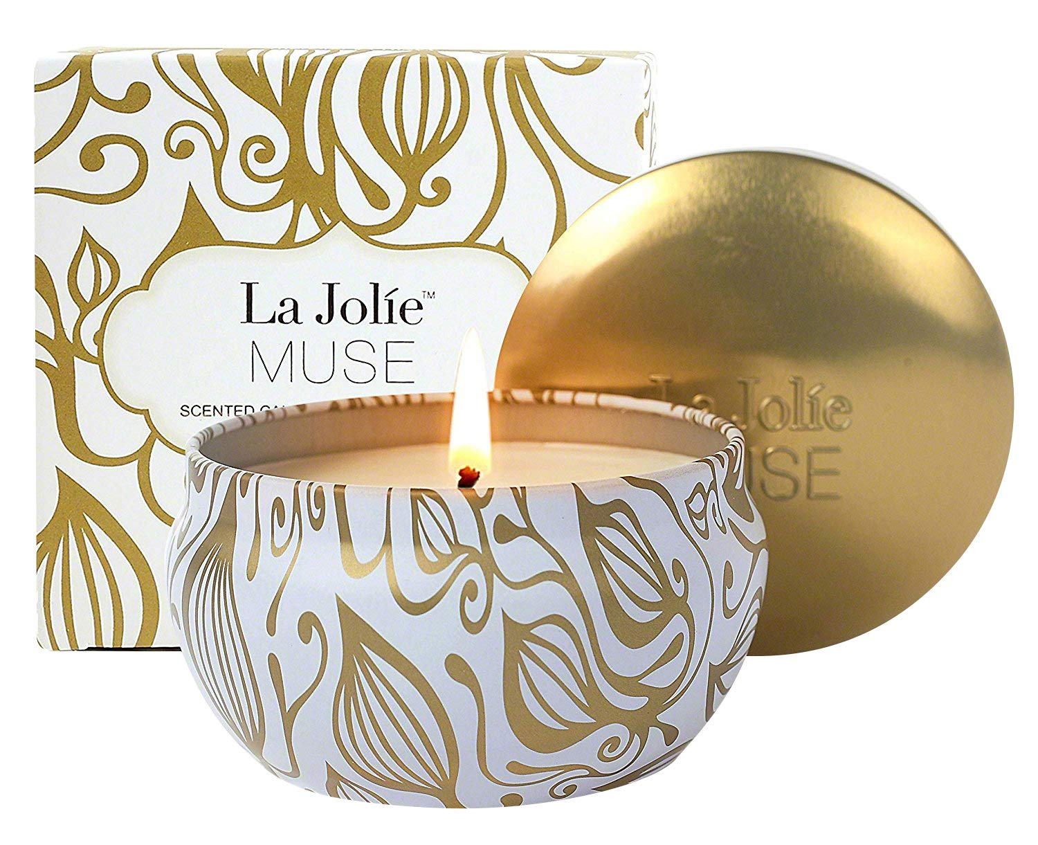 "LA JOLIE MUSE Scented Candles Vanilla Coconut Candle Soy Wax, Gold Travel Tin - ★VANILLA COCONUT CANDLE - The floral elegance of vanilla orchid gradually gives way to the intensity of the pod. Coconut takes precedence, blending with vanilla and Tonya bean to reveal a balsam Bourbon Vanilla with smooth and floral accents. ★FRAGRANT ALL OVER - This luxurious candle is the ultimate treat with its sweet floral notes that do not lose its fragrance no matter how long you burn it. ★LOVELY PACKAGING - It comes with 1 Candle: 2.48""H x 3.6""D. Burn for 40-45 hours. This beautiful candle comes boxed with remarkable detailing. - living-room-decor, living-room, candles - 71ARiBHwDjL -"