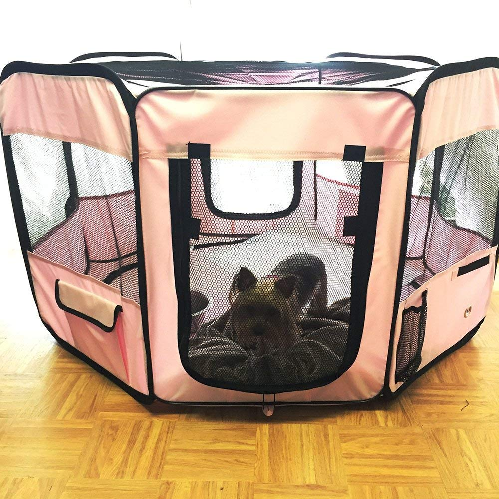 """ToysOpoly #1 Premium Pet Playpen – Large 45"""" Indoor/Outdoor Cage. Best Exercise Kennel for Your Dog, Cat, Rabbit, Puppy, Hamster or Guinea Pig. Portable Fabric Pen for Easy Travel (Light Pink) by ToysOpoly (Image #8)"""