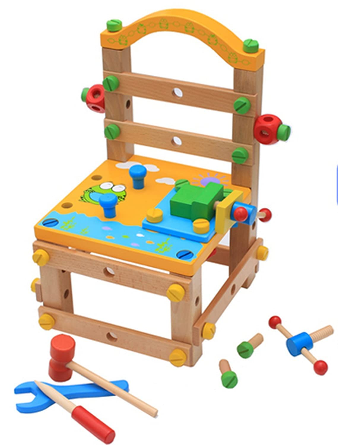Diy Working Chair Screw Multi-functional Puzzle Wooden Toys Construction Sets baoduole toys