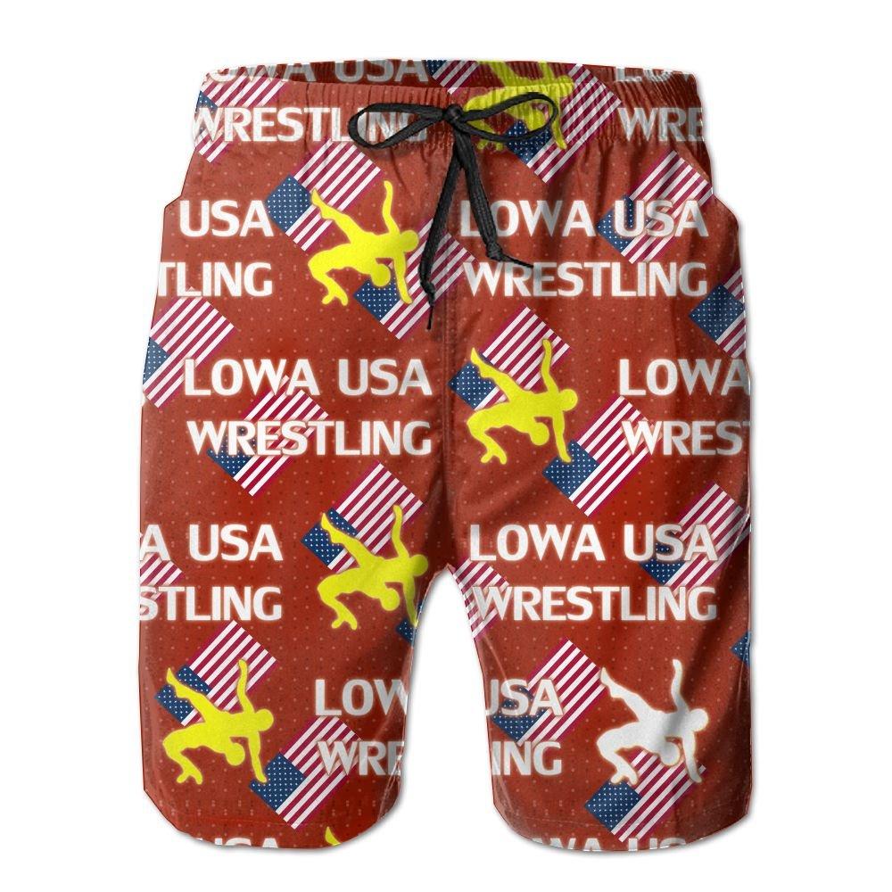 Oct USA Wrestling Logo Elastic Mens Boardshorts Swim Trunks Tropical Basketball Board Shorts Jersey by Oct