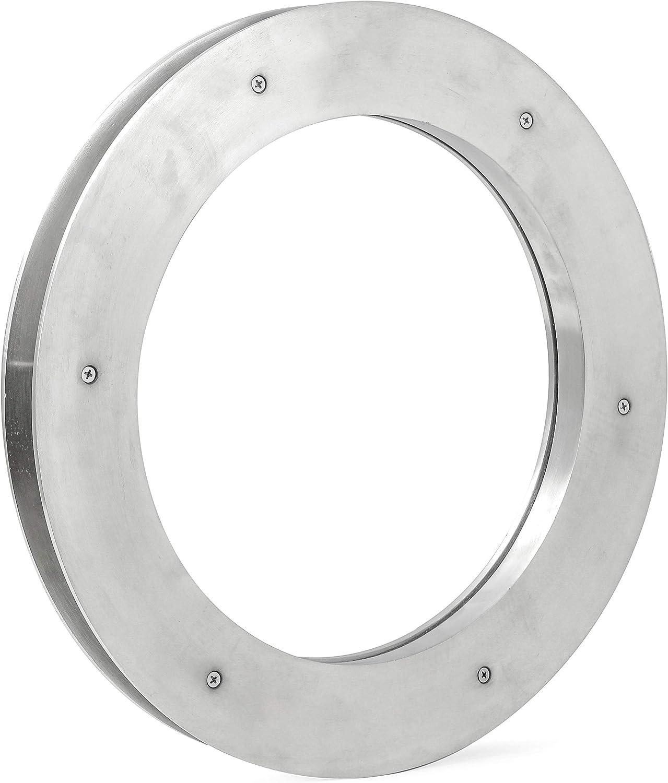 Deep Flange Nickel Premium Aluminum Premium Nautical Porthole Window with A Transparent Glass | Kitchen Home Decor Porthole Window | Nagina International (Brushed Nickel, 24 Inches)