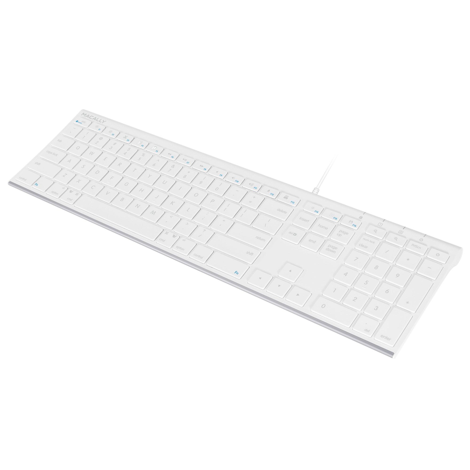 Macally Ultra-Slim USB Wired Computer Keyboard for Apple Mac Pro, MacBook Pro/Air, iMac, Mac Mini, Laptop, Windows PC Laptop (ACEKEY)
