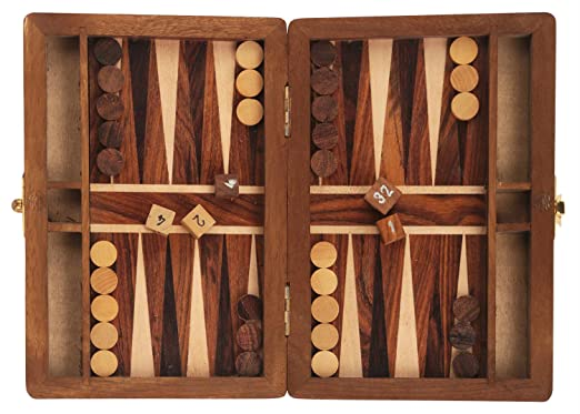 Indiaethnicity Juego de backgammon de madera hecho a mano Casete ...