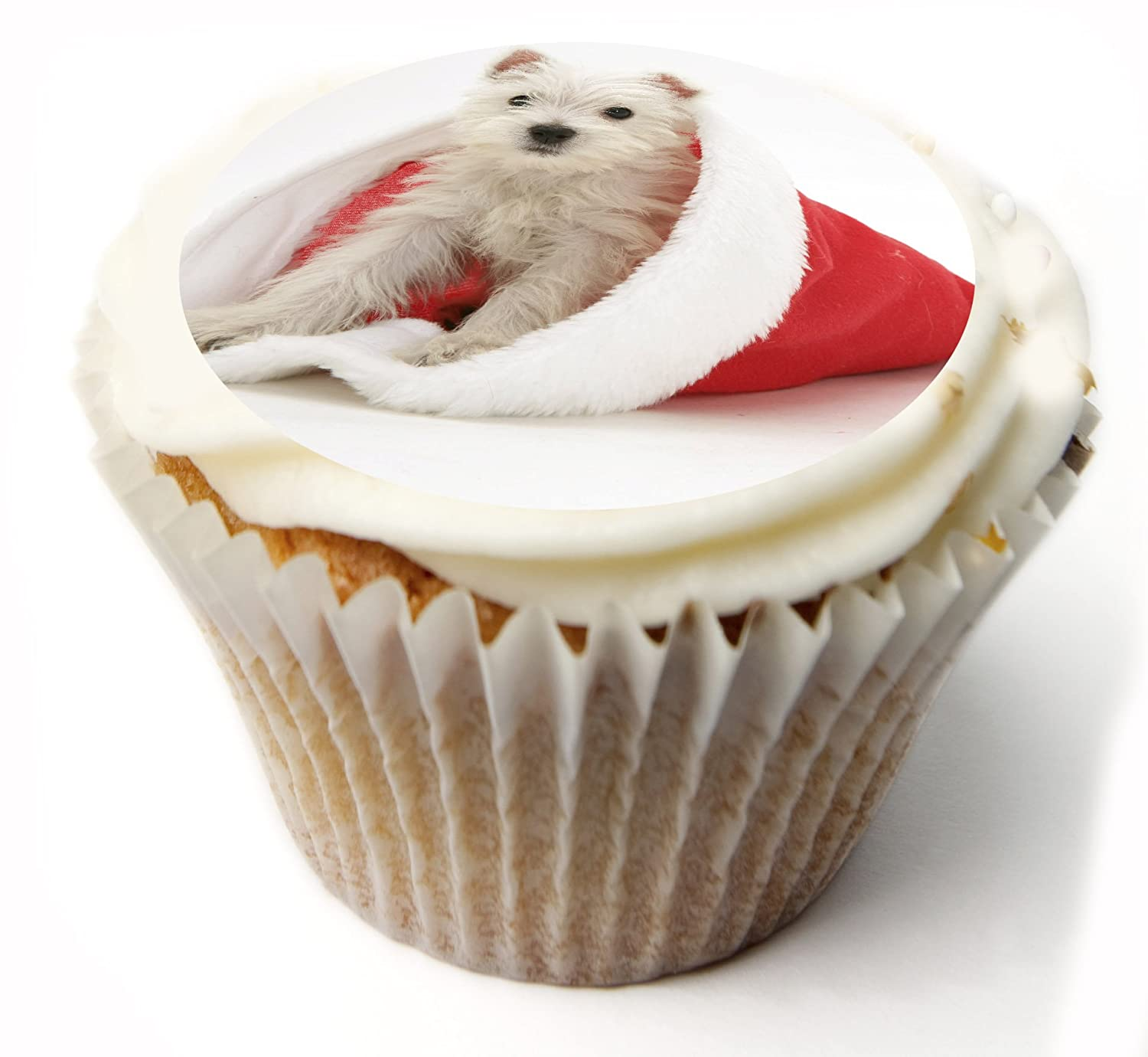 Christmas Cupcake Toppers Westie Dog Merry Christmas Fairy Cake Toppers Muffin Cake Toppers PRE CUT Edible Icing Frosting Sheet or Rice paper Wafer. x 20 PRE CUT 1.75 Inch. Ideal for Christmas party, Christmas cake, Christmas decoration etc